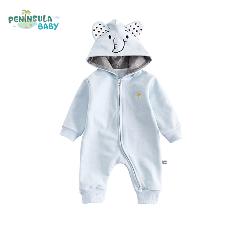 Newborn Long-Sleeved Autumn Baby Cartoon Girls Boys Outerwear Infant Cotton Hooded Animal Jumpsuit Clothing Infant Warm Rompers warm thicken baby rompers long sleeve organic cotton autumn