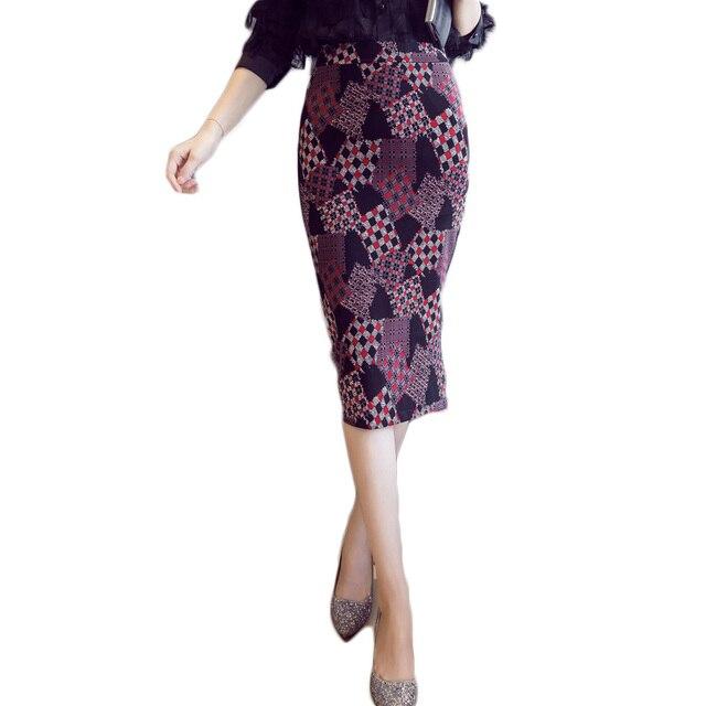b04062d6 Kobiet szczupła długa spódnica ołówek plus rozmiar lady czarny wysoka talia  moda Floral print Koreański styl midi obcisłe spódnice duży ...