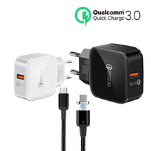 Universal USB Charger Quick Charge 3.0 Travel Charger Portable Wall Adapter EU Plug for Samsung Galaxy S8 S9 Xiaomi usb cable(China)