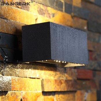 IP65 12W наружный светодиодный настенный светильник, водонепроницаемый современный настенный светильник, черное алюминиевое освещение для кр...