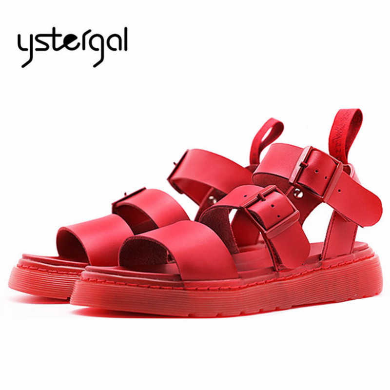 Ystergal Red Women Gladiator Sandals Casual Flat Shoes Woman 2019 Summer Beach Flats Sandalias Mujer Genuine