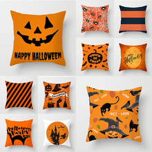 Orange Printed Halloween Night Cushion Cover 45x45cm Polyester Pumpkin Throw Pillow Covers Cushions Home Decoration Accessories