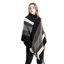 Nouveau mode coloré rayé tricoté poncho foulards avec gland femmes hiver  chaud épais couverture en cachemire écharpe cape châle . 1b7ef98e174