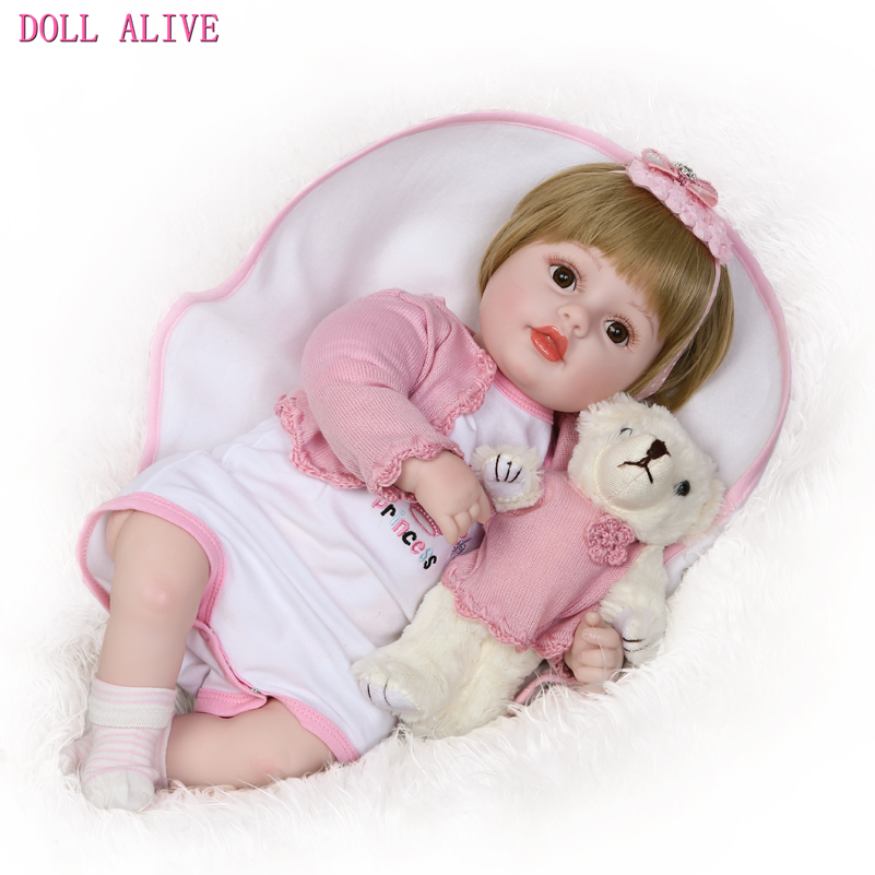Doll Alive 50cm/20 Inches Reborn Toddler Doll Vinyl Toy for Children Birthday Gifts,Soft Fashion Realistic Girl Doll with Dress lifelike american 18 inches girl doll prices toy for children vinyl princess doll toys girl newest design