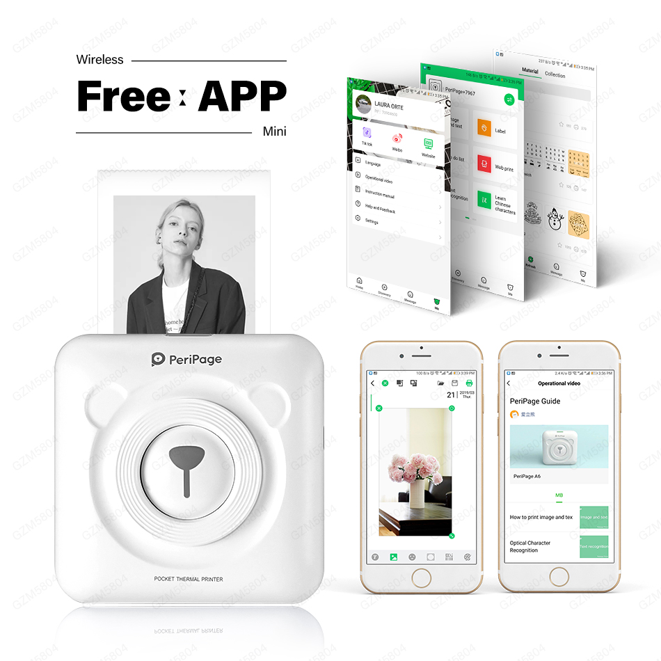 NEW!!! 304 DPI Bluetooth Wireless Small Thermal Printer Picture Mobile Photo Printer Mini Portable Photo Printer For Android IOS