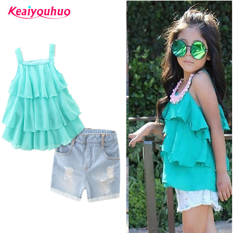 2018 New Summer Kids Girls Clothing Sets 2pcs lace T-shirt + short jeans Set for Girls Clothes suits Set 2-7 years kids clothes clothing set girls summer casual clothes set short sleeve t shirt short pants sport suits girl clothing sets for kids