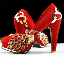 Women Pumps Metal Decoration 2016 Spring Bride Wedding Shoes Platform Shoes High-Heeled Tenis Chinese Style Married Shoes