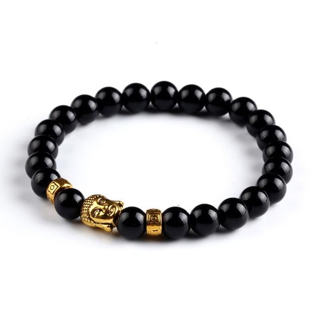 Tiger Eye Bracelet Gold Buddha Natural Stone Beads Elastic Rope Chain Men Charm Bracelets Bangles For Women Male jewellery gift 3