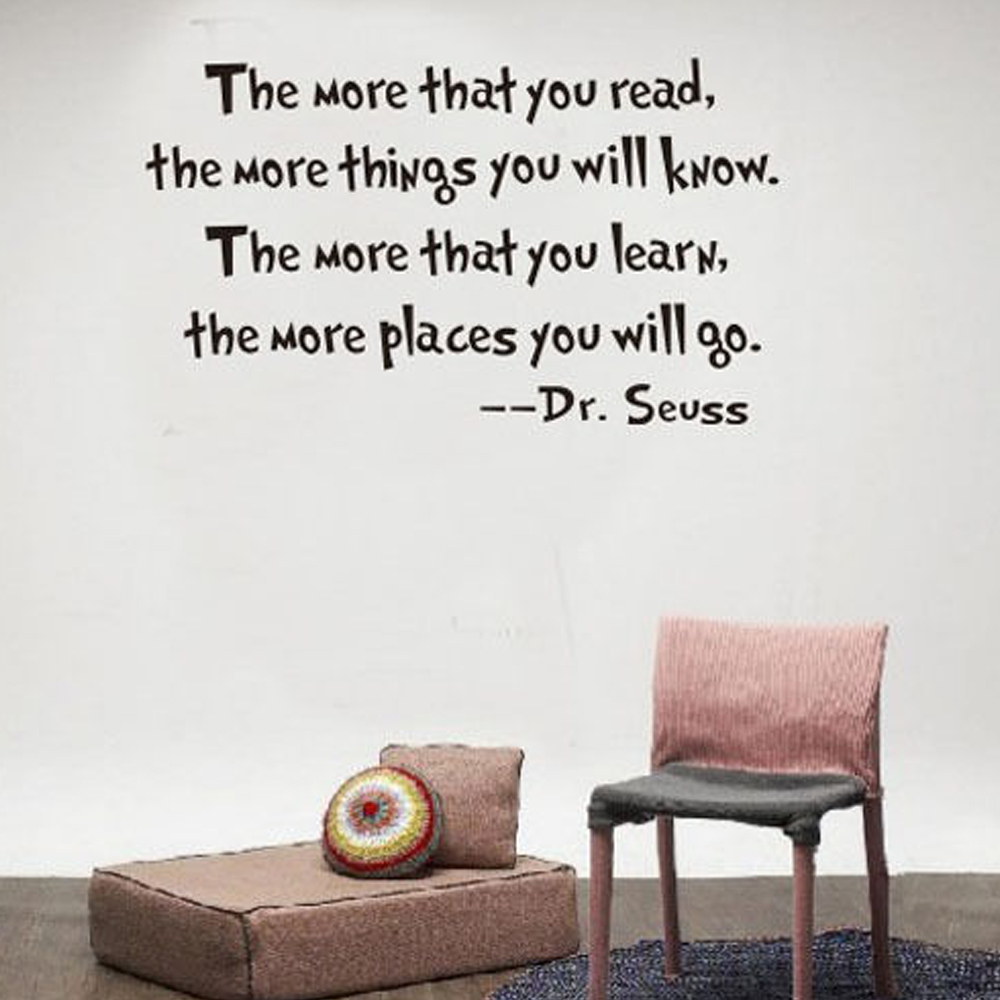 Seuss Inspirational Quote Wall Stickers Office Living Room Decoration Vinyl  Home Decal Mural Art