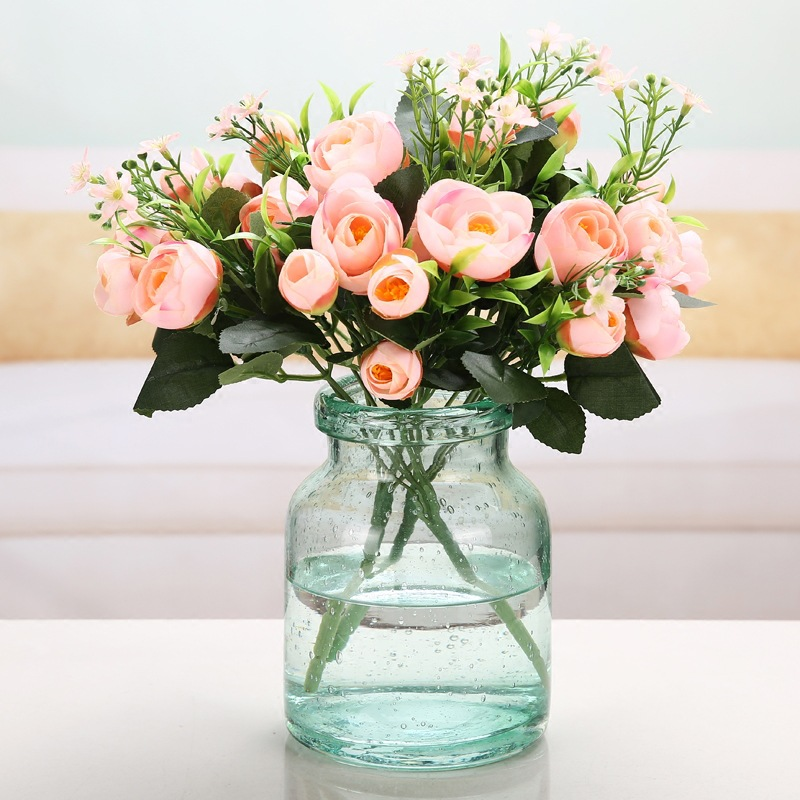 Transparent Glass Flower Vase Home Decoration Desktop Vase Bubble Sky Blue Glass Flower vasos para jardim Modern vaso de flor