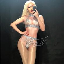 Bling Silver Crystals Rompers Women Sexy Nude Bodysuit Costume Dance St