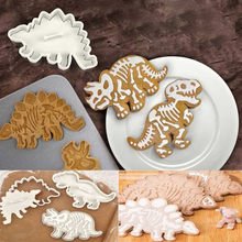 6pcs/lots 3D Dinosaur Cookies Cutters Biscuit Mould Set Tools Kitchenware Sugar craft Dessert Bakeware Fondant Cake Decorating(China)