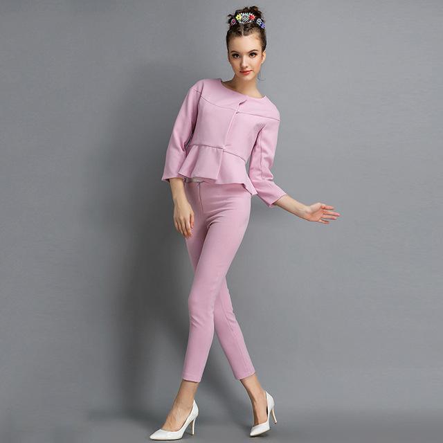 Queda 2016 nova cor sólida linha campos respirar doce temperamento escuro fivela magro paletó calças para as mulheres duas peças conjunto