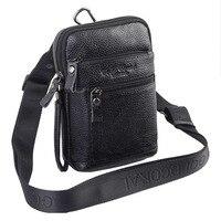 Men's Vintage Genuine Leather Cowhide Travel Cell Phone Messenger Shoulder Belt Pack Waist Hook Sling Chest Bag DropShipping