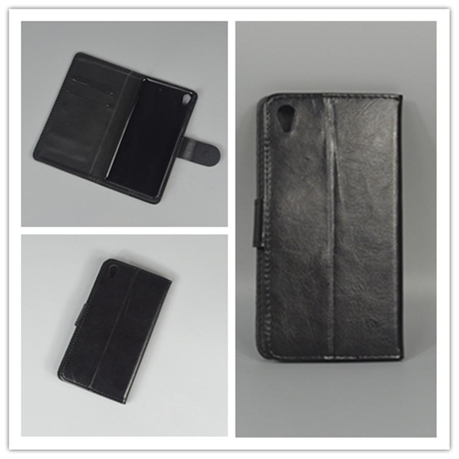 Crystal grain wallet case hold two Cards with 2 Card Holder and pouch slot For Sony Xperia E5 Sony Xperia E5 F3313 F3311