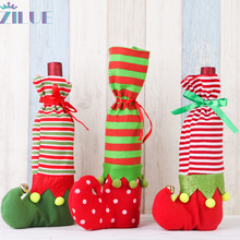 Zilue 1pcs/Lot Christmas Decorations Creative Personality Props Elf Wine Bottle Cover Gift