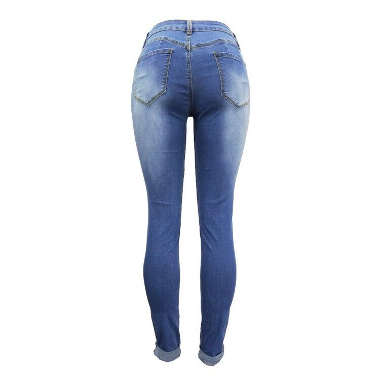 Women Jeans Pants Skinny Pearl Beaded Front Jeans Summer Spring Mid Waist Zipper Long Denim Casual Pants (14)