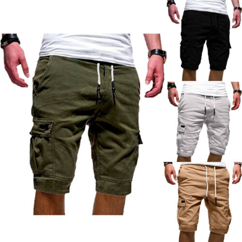 Mens Cargo Five Point  Military Army Combat Camo Pocket Casual Five Point Pants Summer Casual Beach Trousers