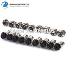 цены Free shipping 10 sets/kit 6 PIN 16mm GX16-6 Screw Aviation Connector Plug The aviation plug Cable connector Male and Female