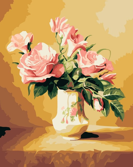 Diy Oil Painting by Numbers, Paint by Number Kits Vase Pink Rose ...