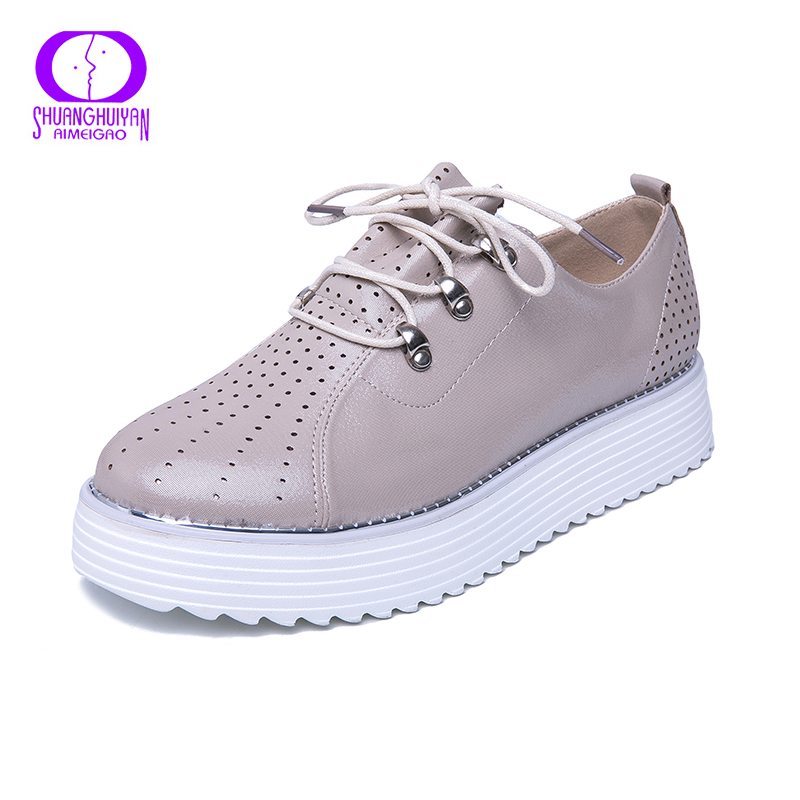 AIMEIGAO 2019 Spring Women Platform Shoes Leather Women Flats Shoes Platform Sneakers Shoes Flats Heels Creepers Moccasins