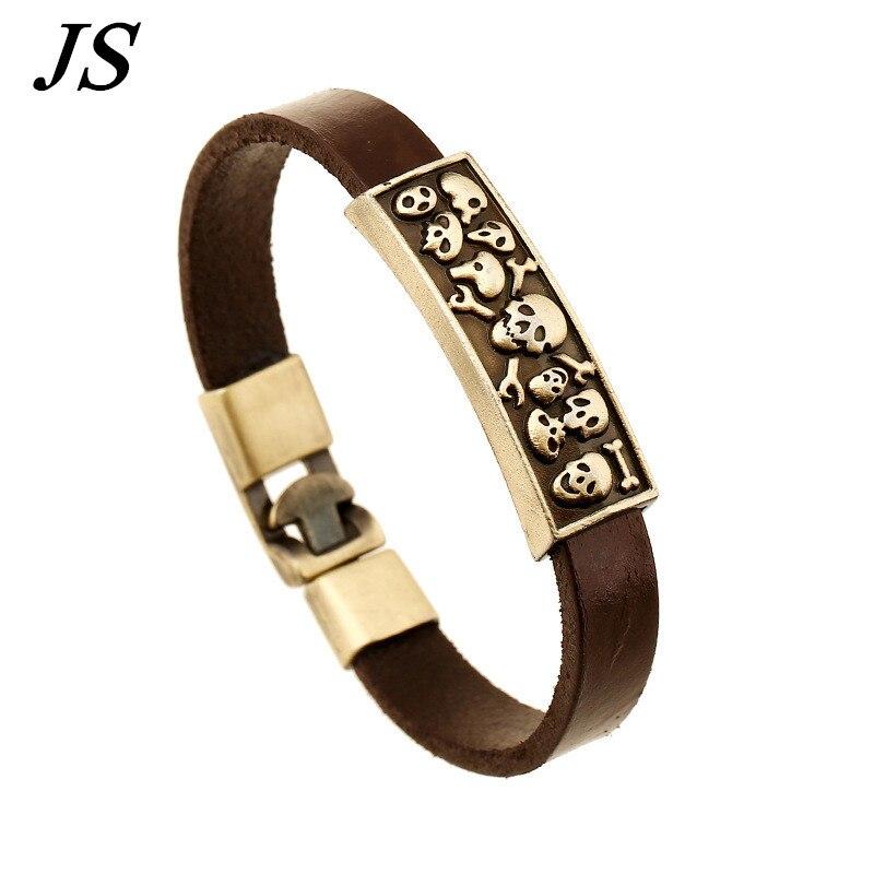 JS 2016 Antique Bronze Alloy Men Leather Skull Bracelet Homme Male Punk Rock Wristband Cuff Braslet Hot Sale Jewelry LB069