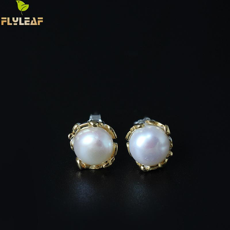 Flyleaf 100% Naturais Contas da Cor do Ouro Brincos Flores Do Parafuso Prisioneiro Para As Mulheres Chinesas Estilo Étnico Senhora de Jóias de Luxo