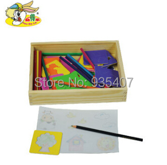 Cartoon Children baby seal ensemble painting wooden toys, educational toys kids cute