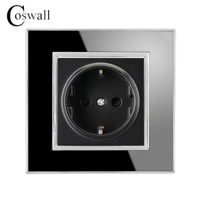 Coswall 16A EU Standard Socket Luxury Wall Power Outlet Acrylic Crystal Panel Electrical Plug Knight Black A1 Series AC 110~250V