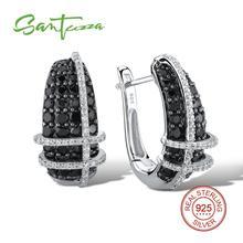 Женские серебряные сережки SANTUZZA из 100% стерлингового серебра 925 пробы высшего качества с натуральными черными камнями, элегантные модные ювелирные изделия