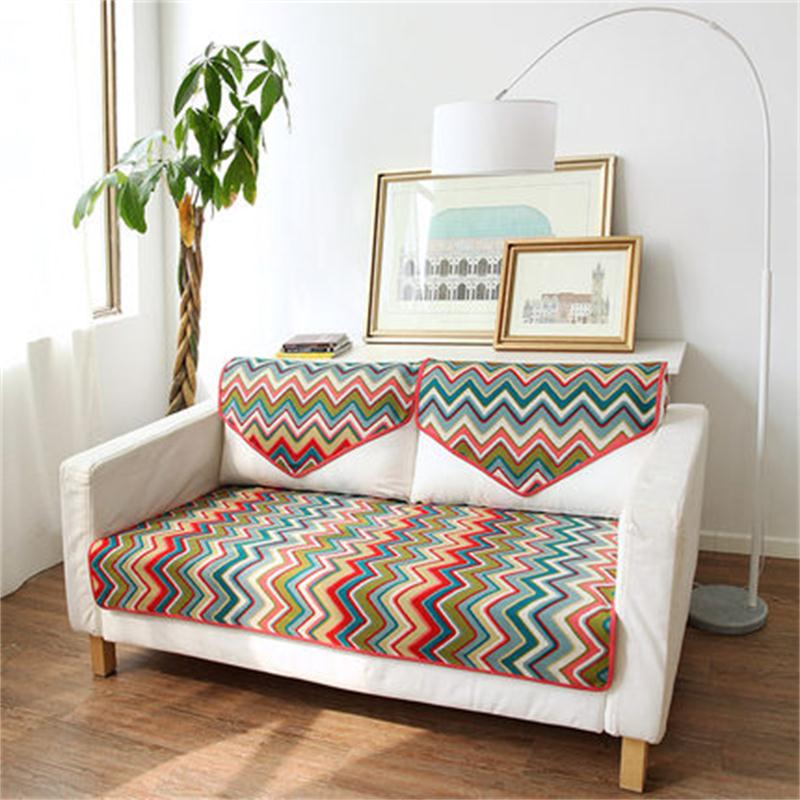 Sofa cushion Cloth cushion Simple modern Cotton weaving Striped sofa cover American fash ...