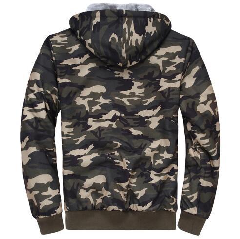 Hommes sweat 2019 nouveau hiver mode Camouflage Zipper Up sweat à capuche pour homme Outwear décontracté épaisseur chaud Slim Fit sweat