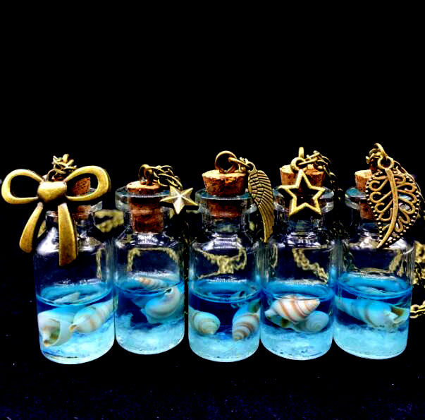 1PCS Hot cute Handmade Luminous sand Ocean glass globe cover Drifting Bottle chain Necklace Gift glass