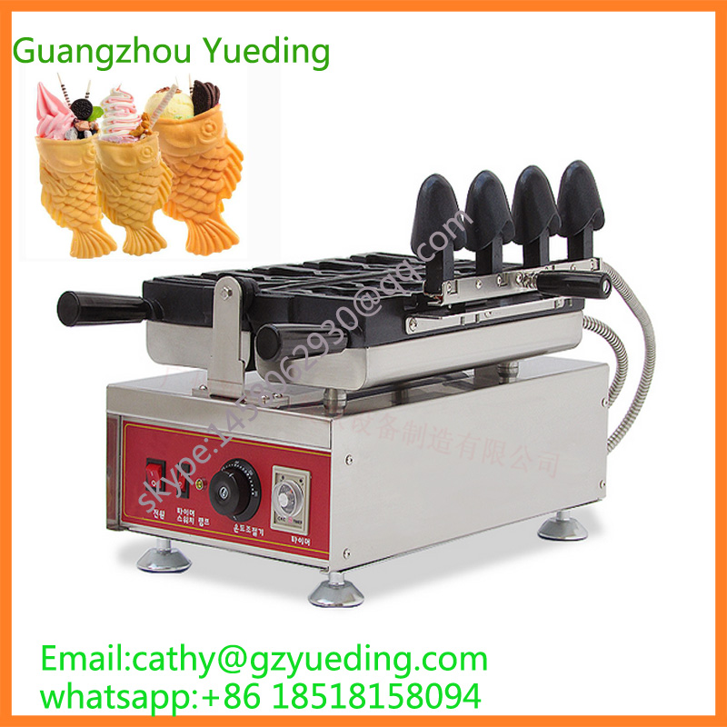 big fish mouth ice cream taiyaki machine /mini waffle maker/ ice cream waffle cone maker taiyaki maker with ice cream filling taiyaki machine for sale ice cream filling to fish shaped cake fish cake maker