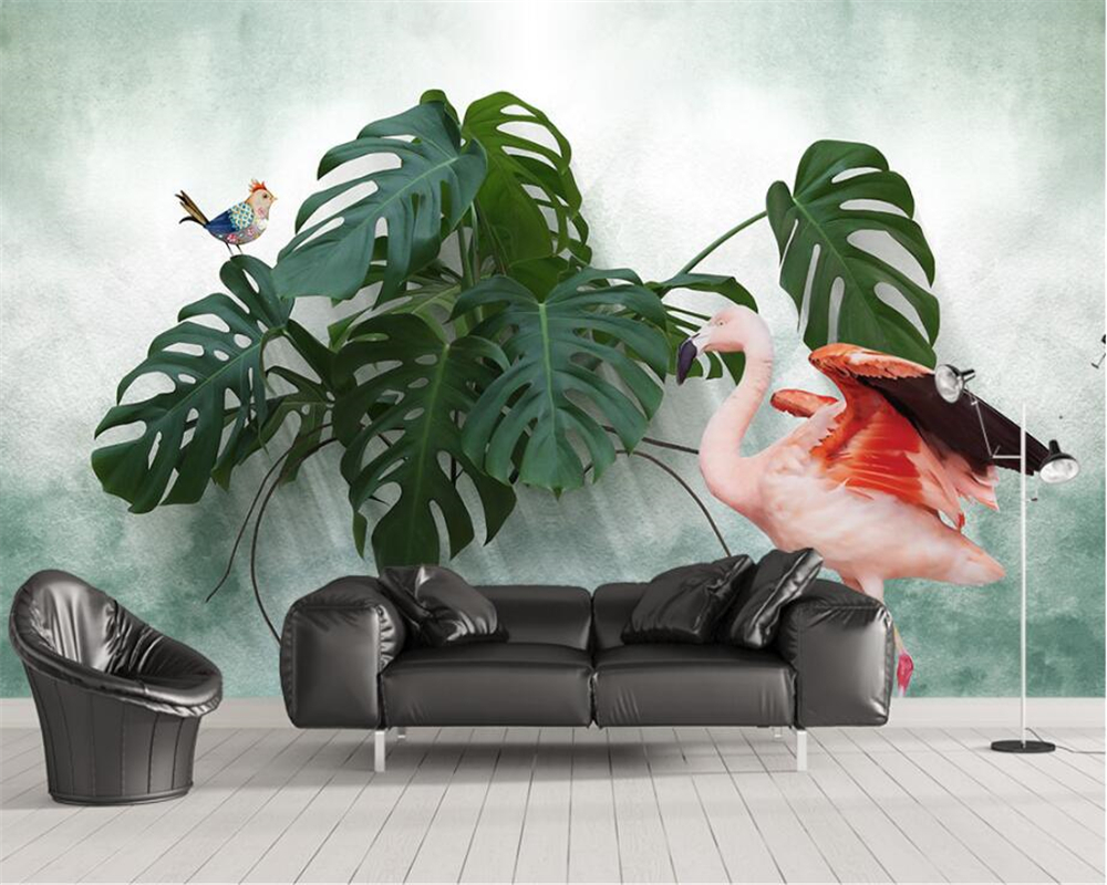 Beibehang Custom wallpaper Scandinavian flamingo TV background wall Living room bedroom home decor backdrop murals 3d wallpaper custom baby wallpaper snow white and the seven dwarfs bedroom for the children s room mural backdrop stereoscopic 3d