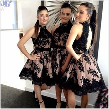 Customized Sexy High Collar Knee Bridesmaid Dress Black Lace Decals Bridesmaid Gowns Bride Dress Vestido De Festa
