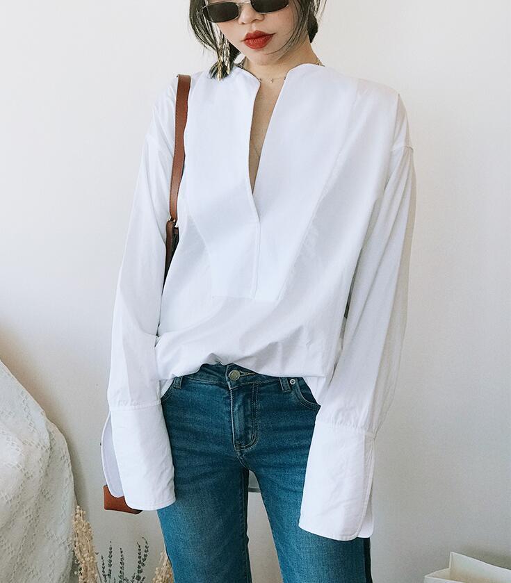 Millay smoking bluse Weiß übergroßen TOP V ausschnitt cut dropped schultern langen ärmeln offenen manschetten FRAU NEUE-in Blusen & Hemden aus Damenbekleidung bei  Gruppe 2