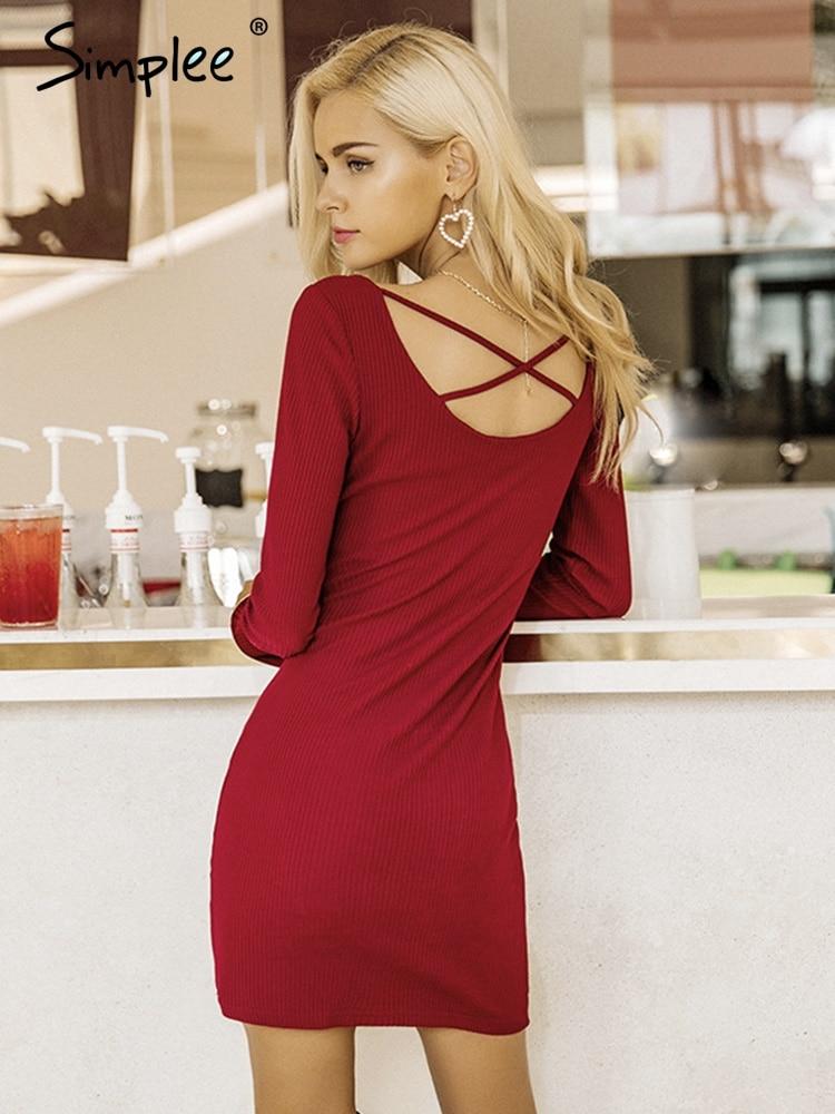 Просто, элегантно кружевные женские вязаные платья с длинным рукавом сексуальный эластичный винно-красный свитер повседневное облегающее ...
