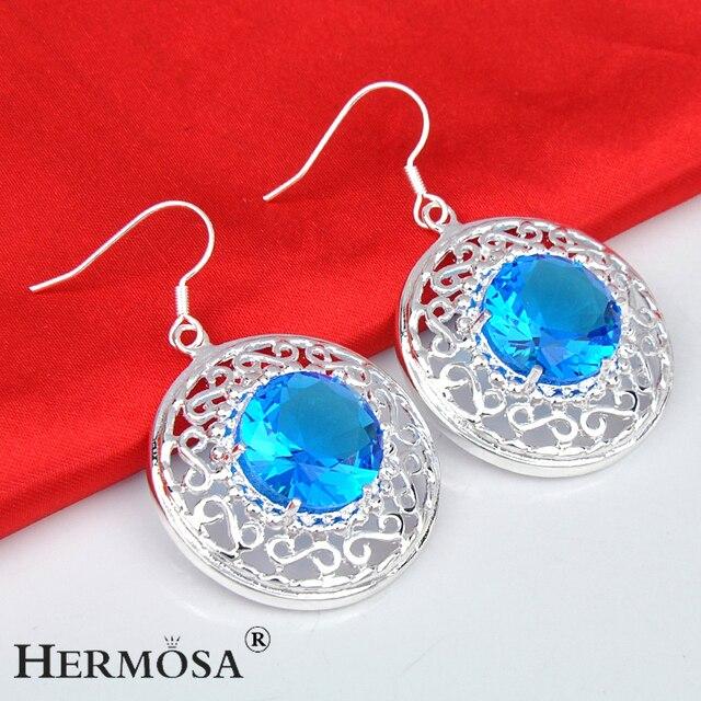 Modeschmuck silber ohrringe  Hermosa victoria runde blau modeschmuck 925 steling silber ...