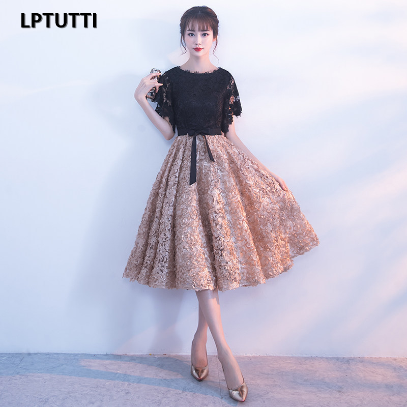 LPTUTTI Appliques New Sexy Woman Plus Size Social Festive Elegant Formal Prom Party Gowns Fancy Short Luxury   Cocktail     Dresses