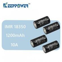 4 pcs 원래 keeppower 10a 방전 imr18350 1200 mah uh1835p 리튬 이온 충전식 배터리 imr 18350 배터리 드롭 배송