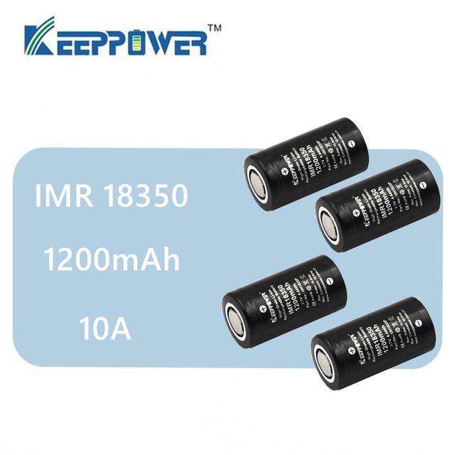 4pcs Original Keeppower 10A discharge IMR18350 1200mAh UH1835P Li-ion rechargeable battery IMR 18350 battery drop shipping