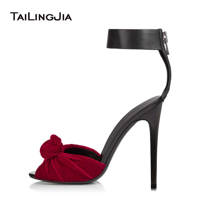 Women Red Velvet Knotted Sandals Sexy Black Ankle Wrap Knot Heels High Heel  Peep Toe Summer Shoes Dress Heels Big Size Wholesale afd2c6b23060