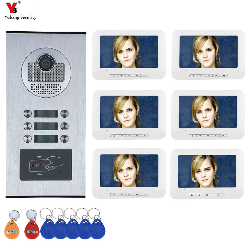6 Apartment/Family Video Door Phone Intercom System RFID IR-CUT HD 1000TVL Camera Doorbell Camera With 6 Button 6 Monitor
