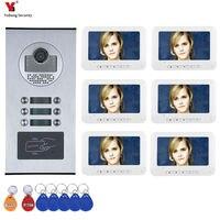 6 Apartment/Family Video Door Phone Intercom System RFID IR CUT HD 1000TVL Camera Doorbell Camera with 6 button 6 Monitor