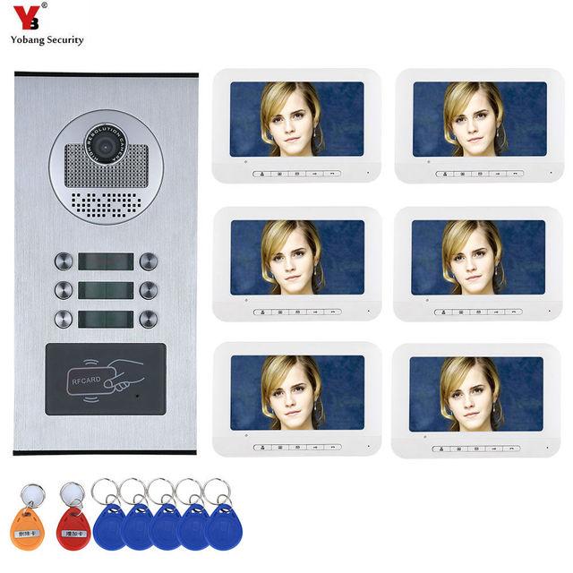6 Apartment/ครอบครัววิดีโออินเตอร์คอม RFID IR CUT HD 1000TVL กล้อง 6 ปุ่ม 6 MONITOR