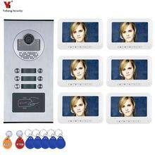 6 דירה/משפחה וידאו דלת טלפון אינטרקום מערכת RFID IR CUT HD 1000TVL מצלמה פעמון מצלמה עם 6 כפתור 6 צג