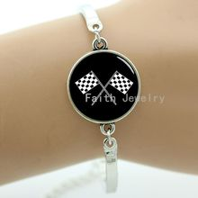 New arrived fashion sporty racing chequered flag bracelet vintage punk gear Computer circuit board picture geek