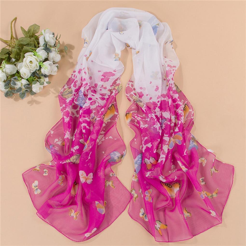 Women Chiffon Butterfly Floral Shawl Long   Scarf     Wraps   Sunscreen