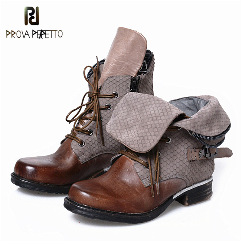 Prova Perfetto High Quality Do Old Natural Leather Low Heels Ankle Boots For Women Motorcycle Fashion Snake Skin Pattern Boots high quality motorcycle letters pattern